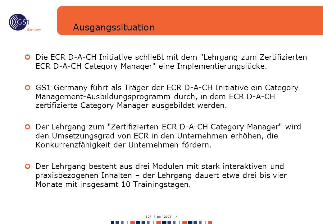ECR | pe | 2009 | 4 Ausgangssituation Die ECR D-A-CH Initiative schließt mit dem Lehrgang zum Zertifizierten ECR D-A-CH Category Manager eine Implementierungslücke.