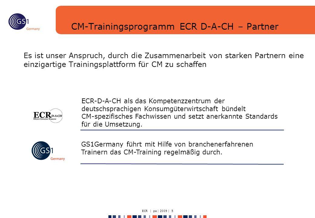 ECR | pe | 2009 | 5 CM-Trainingsprogramm ECR D-A-CH – Partner Es ist unser Anspruch, durch die Zusammenarbeit von starken Partnern eine einzigartige Trainingsplattform für CM zu schaffen GS1Germany führt mit Hilfe von branchenerfahrenen Trainern das CM-Training regelmäßig durch.