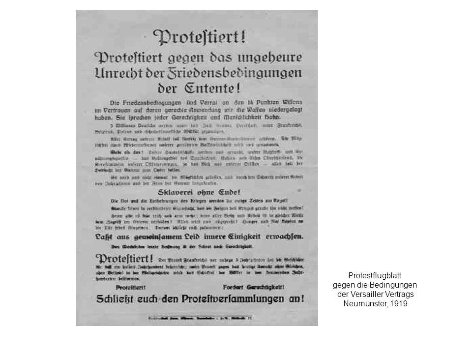 Protestflugblatt gegen die Bedingungen der Versailler Vertrags Neumünster, 1919