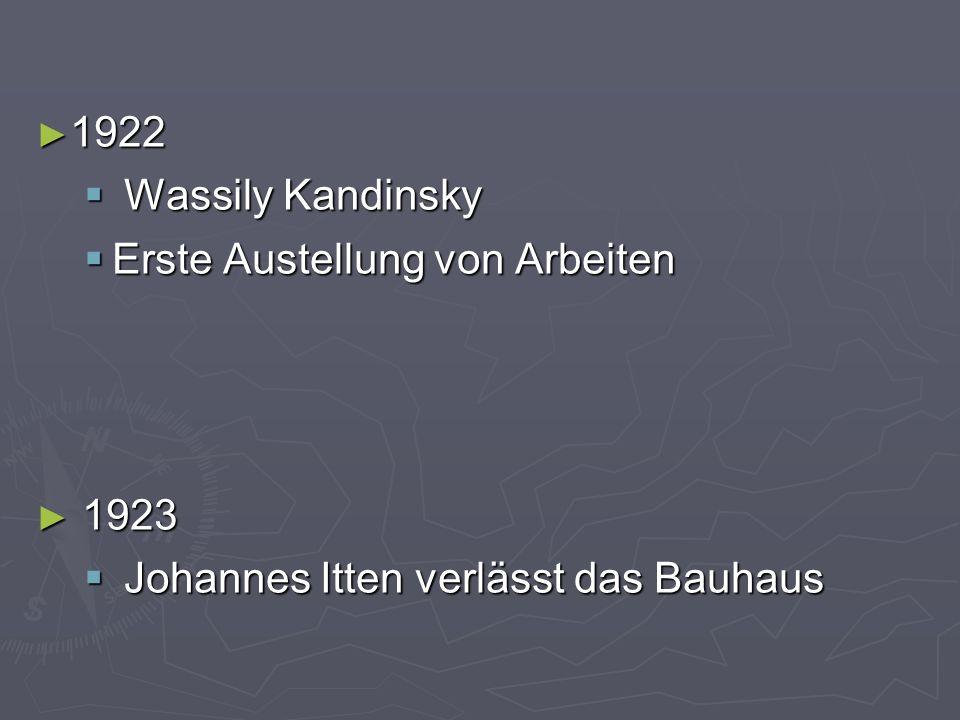 ► 1922  Wassily Kandinsky  Erste Austellung von Arbeiten ► 1923  Johannes Itten verlässt das Bauhaus