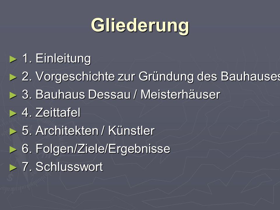 Gliederung ► 1. Einleitung ► 2. Vorgeschichte zur Gründung des Bauhauses ► 3.