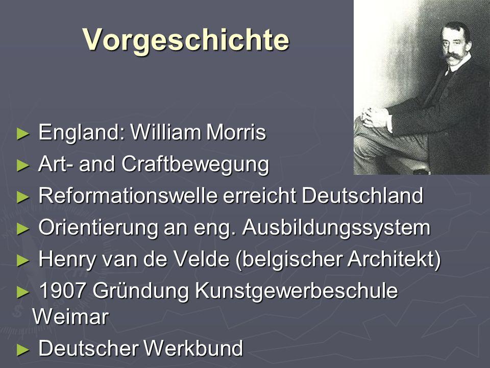 Vorgeschichte ► England: William Morris ► Art- and Craftbewegung ► Reformationswelle erreicht Deutschland ► Orientierung an eng.