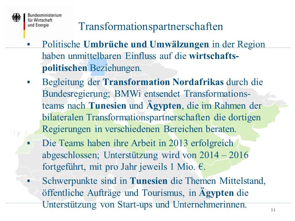Transformationspartnerschaften  Politische Umbrüche und Umwälzungen in der Region haben unmittelbaren Einfluss auf die wirtschafts- politischen Bezie