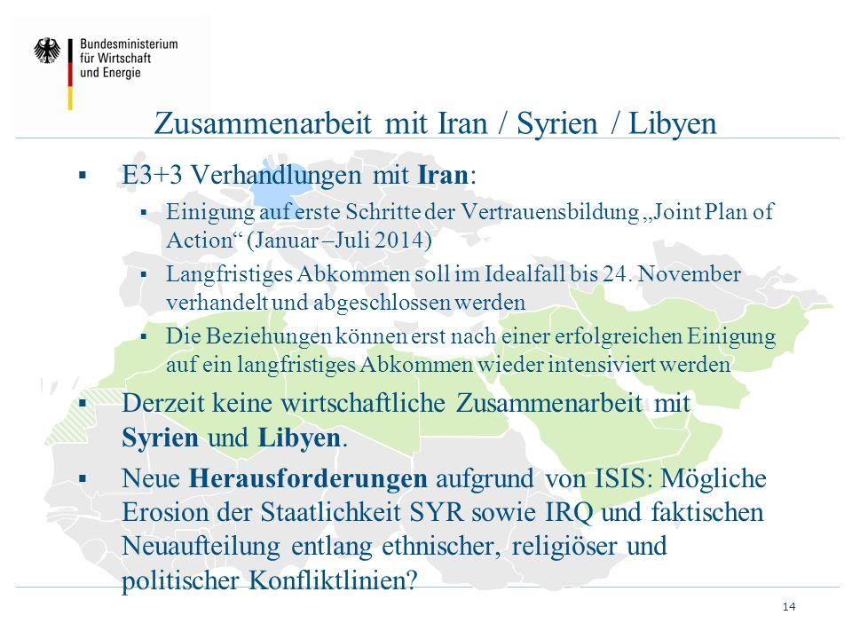 """Zusammenarbeit mit Iran / Syrien / Libyen  E3+3 Verhandlungen mit Iran:  Einigung auf erste Schritte der Vertrauensbildung """"Joint Plan of Action"""" (J"""