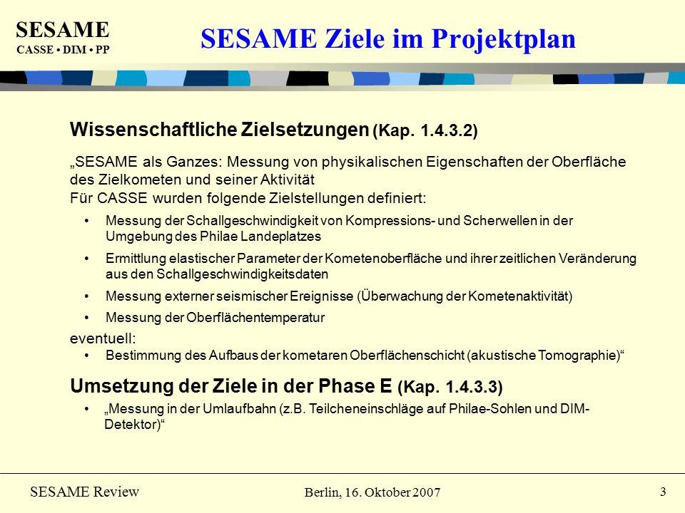 SESAME CASSE DIM PP 4 SESAME Review Berlin, 16. Oktober 2007 Status: PC #6 Aktivitäten