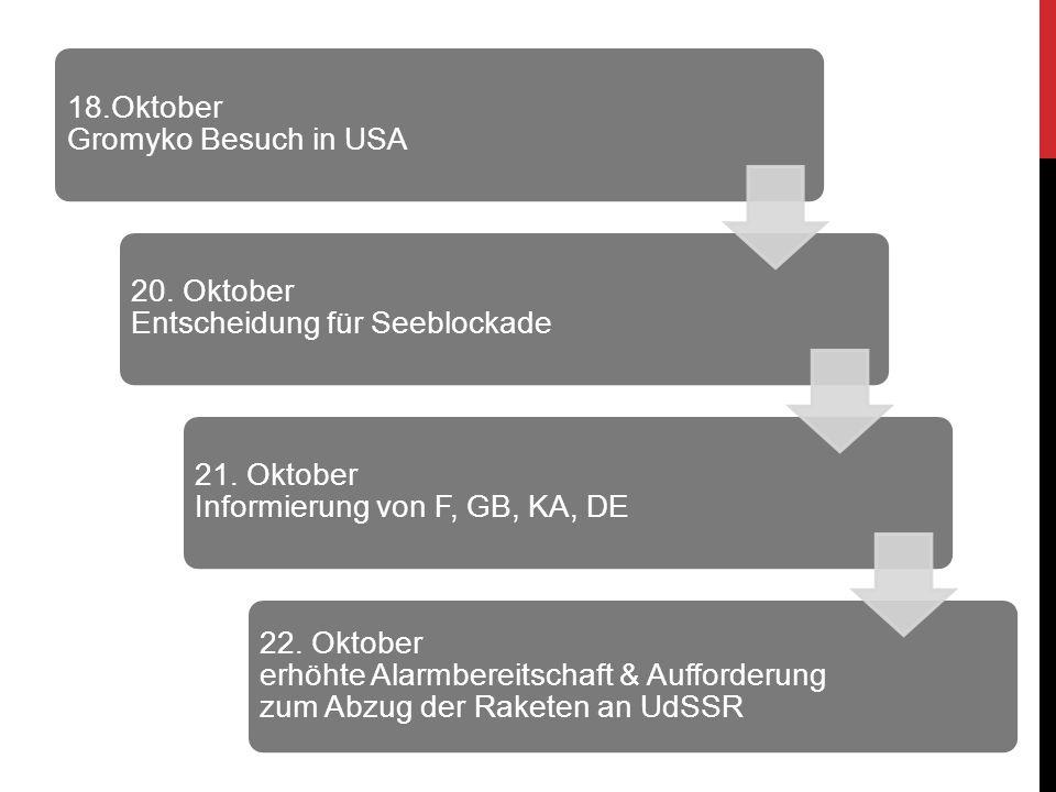 18.Oktober Gromyko Besuch in USA 20. Oktober Entscheidung für Seeblockade 21. Oktober Informierung von F, GB, KA, DE 22. Oktober erhöhte Alarmbereitsc