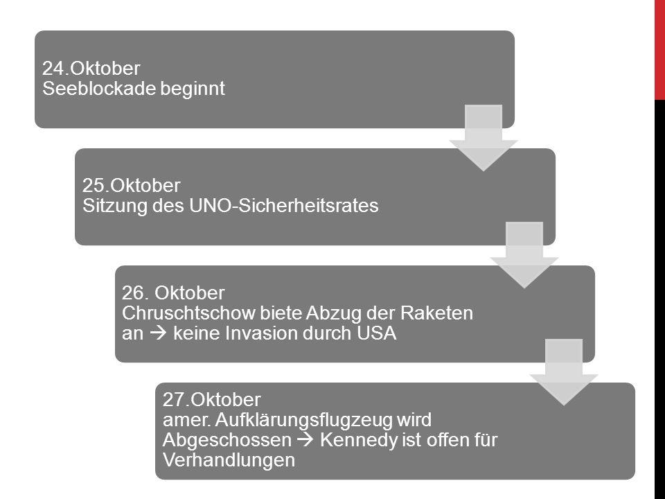 24.Oktober Seeblockade beginnt 25.Oktober Sitzung des UNO-Sicherheitsrates 26. Oktober Chruschtschow biete Abzug der Raketen an  keine Invasion durch