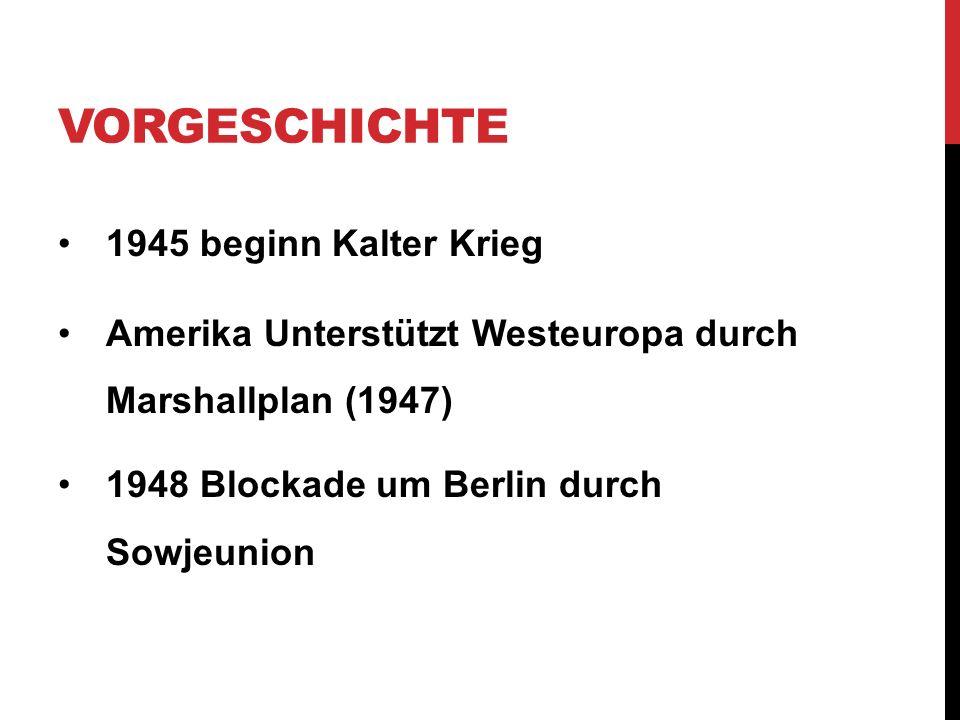 VORGESCHICHTE 1945 beginn Kalter Krieg Amerika Unterstützt Westeuropa durch Marshallplan (1947) 1948 Blockade um Berlin durch Sowjeunion