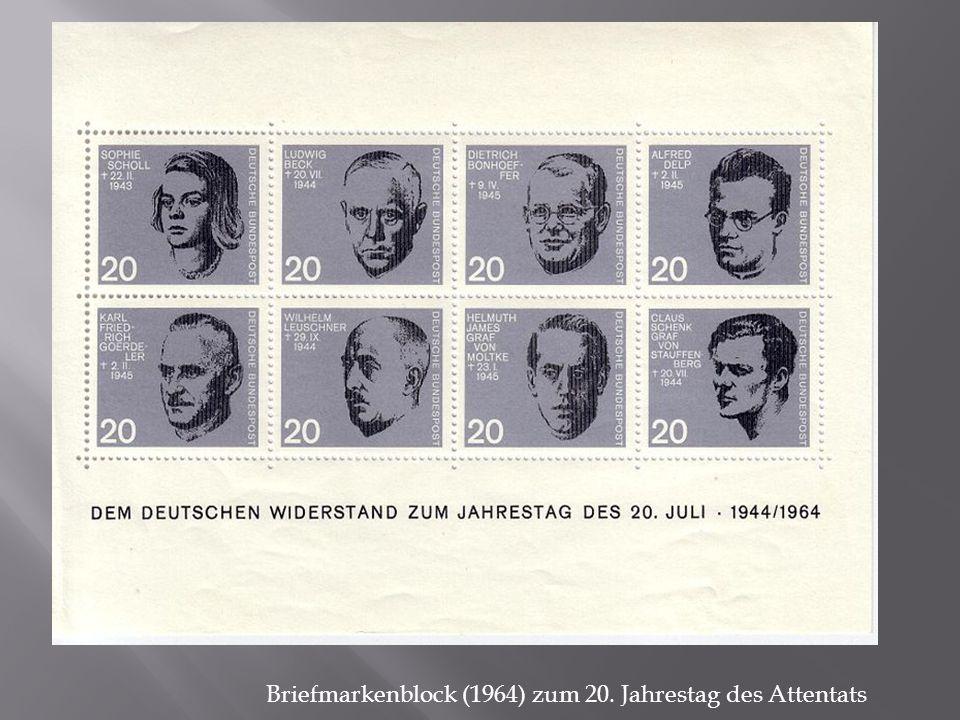 Briefmarkenblock (1964) zum 20. Jahrestag des Attentats