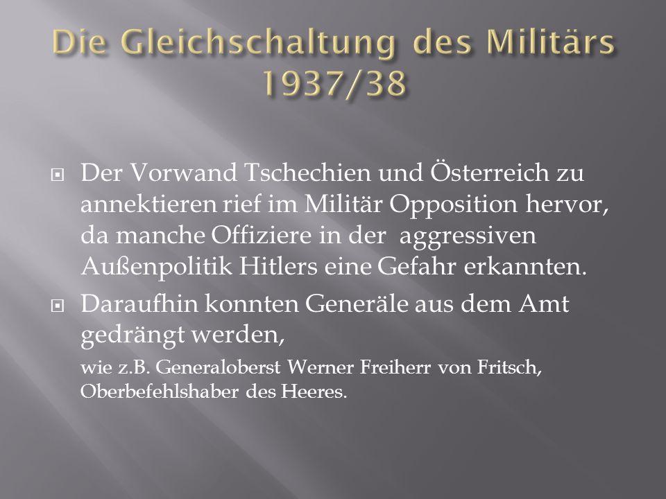  Der Vorwand Tschechien und Österreich zu annektieren rief im Militär Opposition hervor, da manche Offiziere in der aggressiven Außenpolitik Hitlers