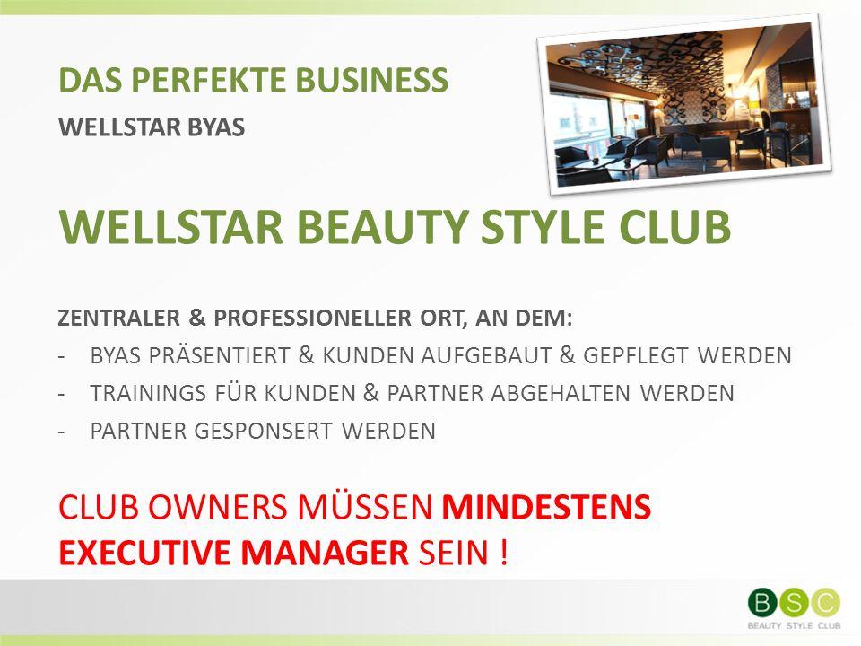 DAS PERFEKTE BUSINESS WELLSTAR BYAS WELLSTAR BEAUTY STYLE CLUB ZENTRALER & PROFESSIONELLER ORT, AN DEM: -BYAS PRÄSENTIERT & KUNDEN AUFGEBAUT & GEPFLEG