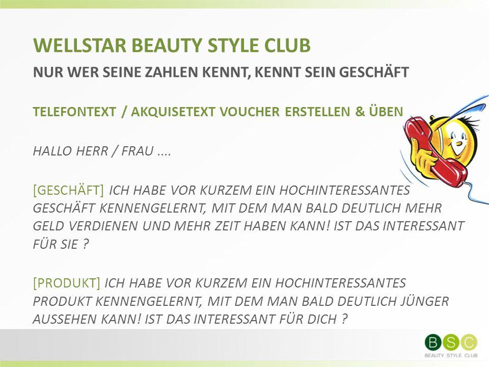 WELLSTAR BEAUTY STYLE CLUB NUR WER SEINE ZAHLEN KENNT, KENNT SEIN GESCHÄFT TELEFONTEXT / AKQUISETEXT VOUCHER ERSTELLEN & ÜBEN HALLO HERR / FRAU....
