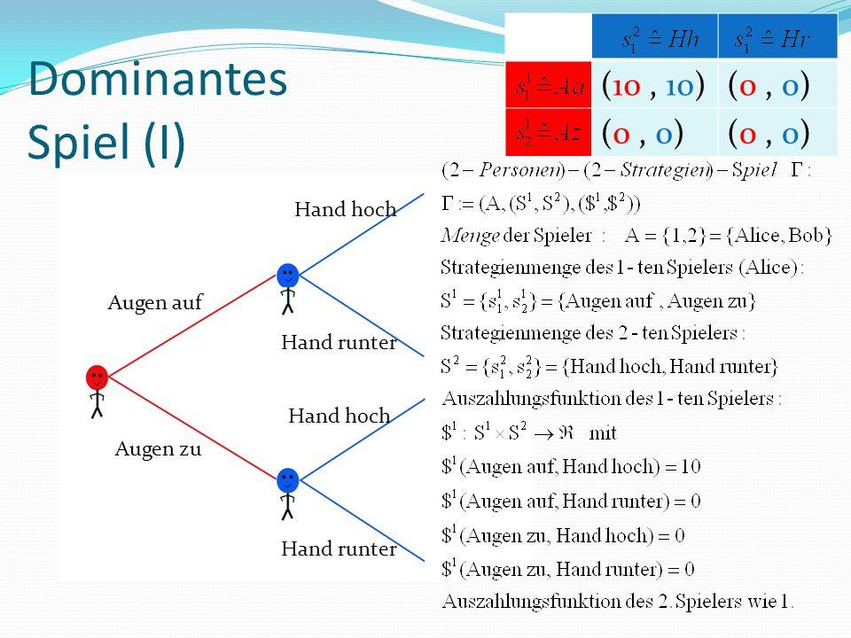 Dominantes Spiel (I) Hand hoch Hand runter Augen auf Augen zu Hand hoch Hand runter (10, 10)(0, 0)