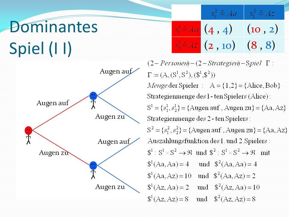 Dominantes Spiel (I I) Augen auf Augen zu Augen auf Augen zu Augen auf Augen zu (4, 4)(10, 2) (2, 10)(8, 8)