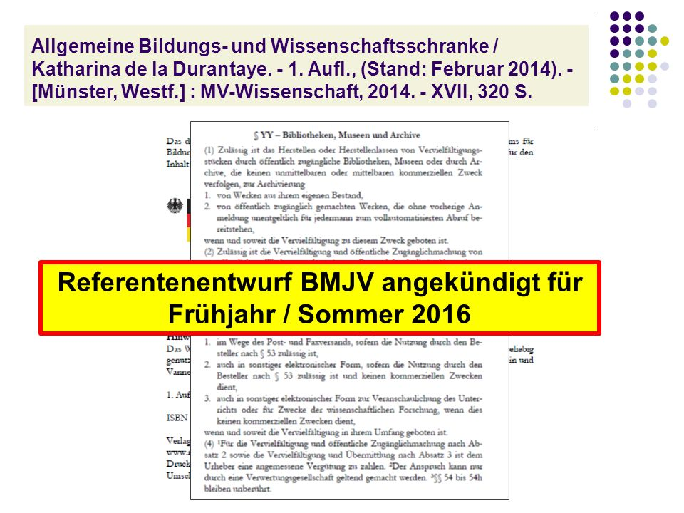 Allgemeine Bildungs- und Wissenschaftsschranke / Katharina de la Durantaye.