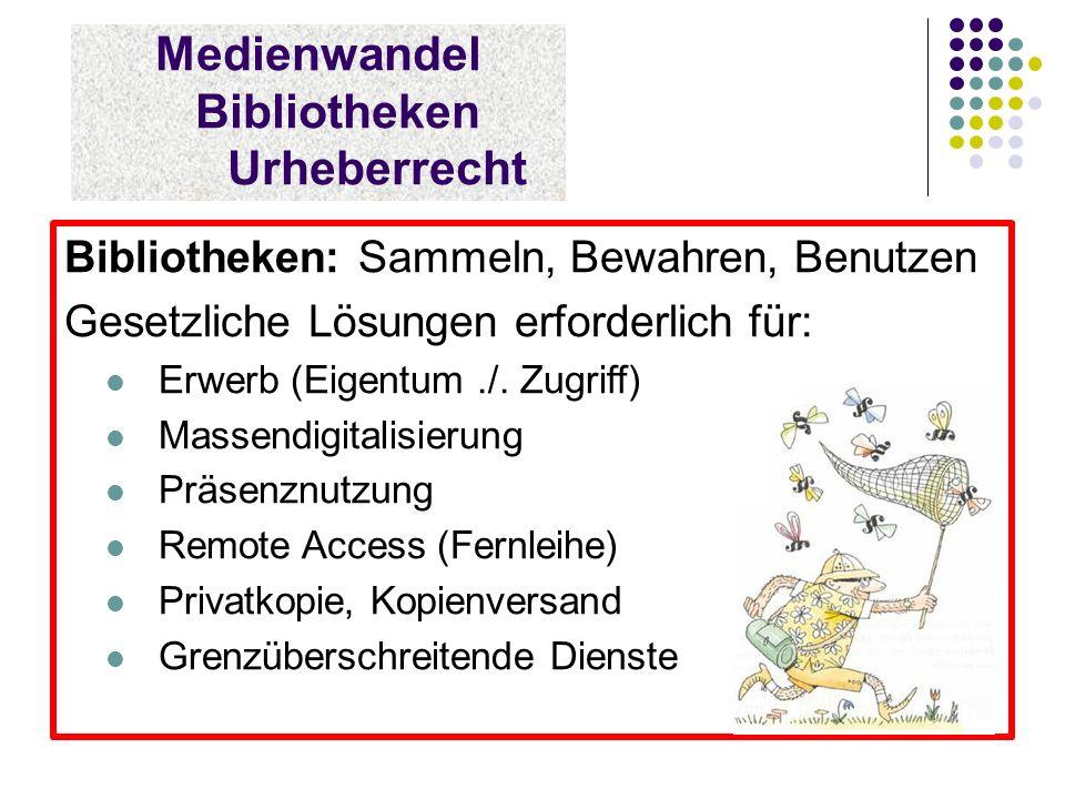 Medienwandel Bibliotheken Urheberrecht Bibliotheken: Sammeln, Bewahren, Benutzen Gesetzliche Lösungen erforderlich für: Erwerb (Eigentum./.