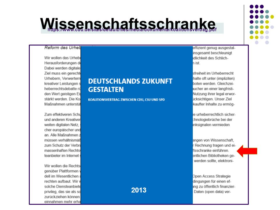 https://www.cdu.de/sites/default/files/media/dokumente/koalitionsvertrag.pdf 2013 Wissenschaftsschranke