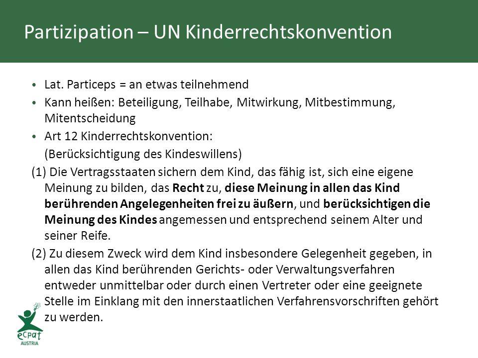 Partizipation – UN Kinderrechtskonvention Lat. Particeps = an etwas teilnehmend Kann heißen: Beteiligung, Teilhabe, Mitwirkung, Mitbestimmung, Mitents