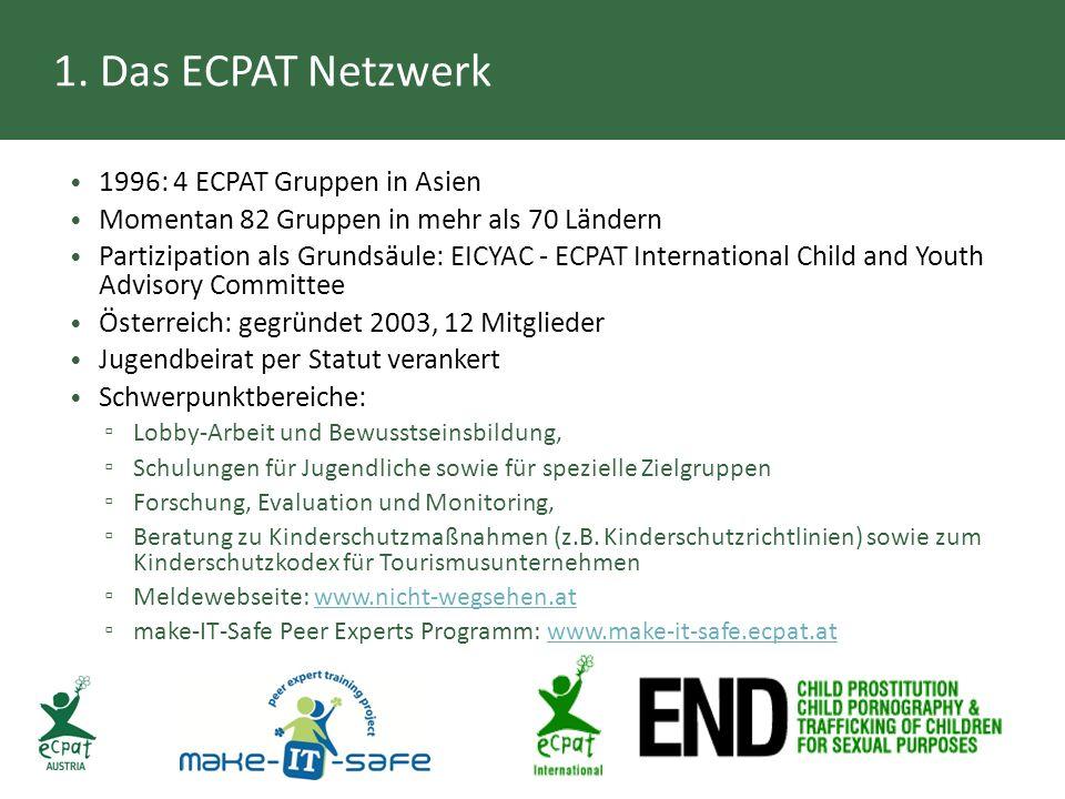 1. Das ECPAT Netzwerk 1996: 4 ECPAT Gruppen in Asien Momentan 82 Gruppen in mehr als 70 Ländern Partizipation als Grundsäule: EICYAC - ECPAT Internati