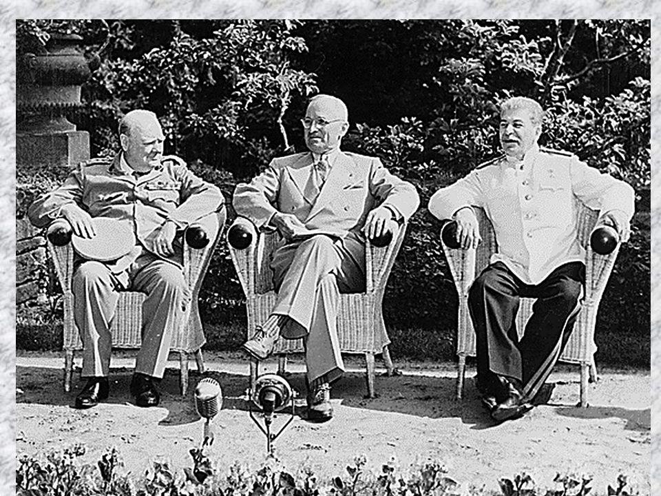 Britischer Premierminister Winston Churchill, US-Präsident Harry S.