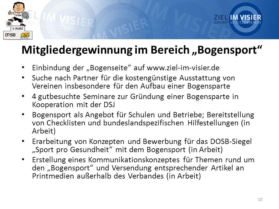 """10 Mitgliedergewinnung im Bereich """"Bogensport"""" Einbindung der """"Bogenseite"""" auf www.ziel-im-visier.de Suche nach Partner für die kostengünstige Ausstat"""
