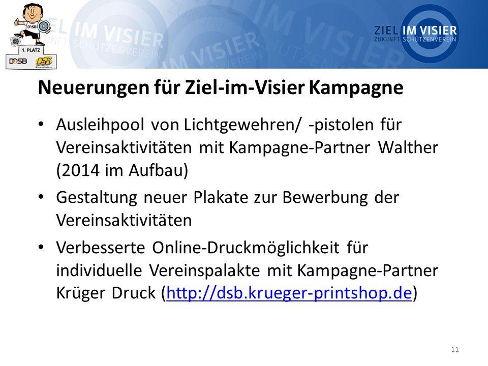 11 Neuerungen für Ziel-im-Visier Kampagne Ausleihpool von Lichtgewehren/ -pistolen für Vereinsaktivitäten mit Kampagne-Partner Walther (2014 im Aufbau