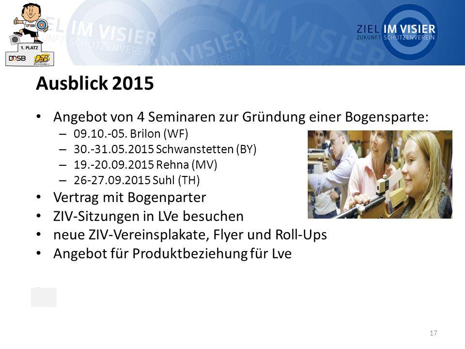 17 Ausblick 2015 Angebot von 4 Seminaren zur Gründung einer Bogensparte: – 09.10.-05. Brilon (WF) – 30.-31.05.2015 Schwanstetten (BY) – 19.-20.09.2015
