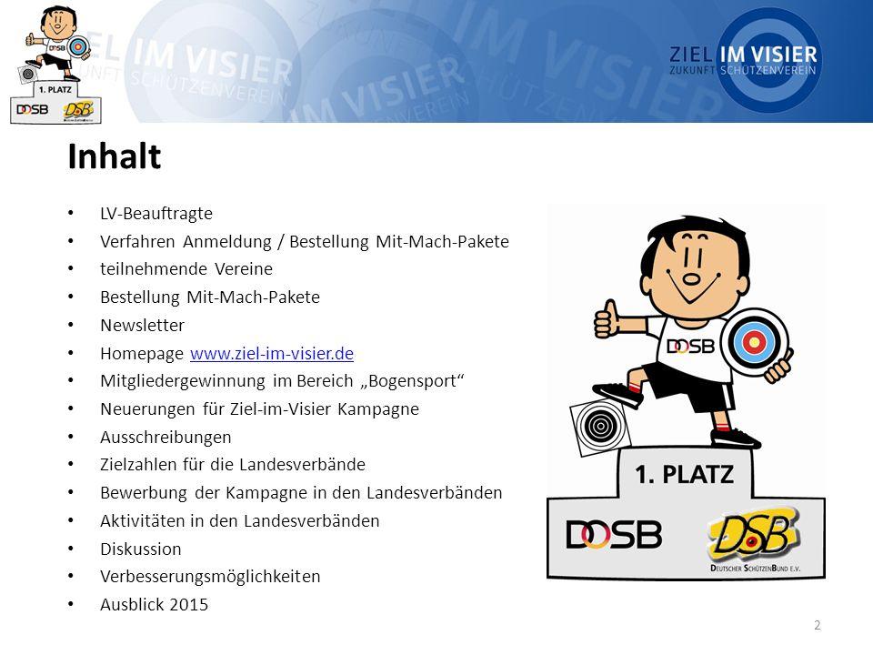 Inhalt LV-Beauftragte Verfahren Anmeldung / Bestellung Mit-Mach-Pakete teilnehmende Vereine Bestellung Mit-Mach-Pakete Newsletter Homepage www.ziel-im