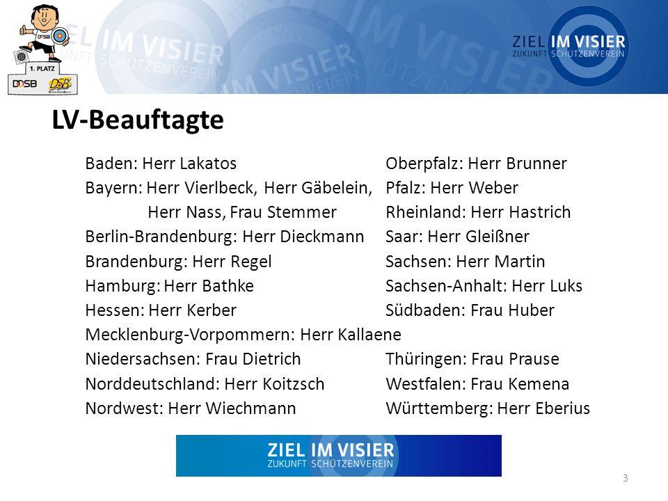 LV-Beauftagte Baden: Herr LakatosOberpfalz: Herr Brunner Bayern: Herr Vierlbeck, Herr Gäbelein, Pfalz: Herr Weber Herr Nass, Frau Stemmer Rheinland: H