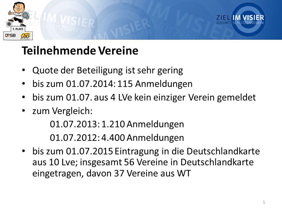 5 Teilnehmende Vereine Quote der Beteiligung ist sehr gering bis zum 01.07.2014: 115 Anmeldungen bis zum 01.07. aus 4 LVe kein einziger Verein gemelde