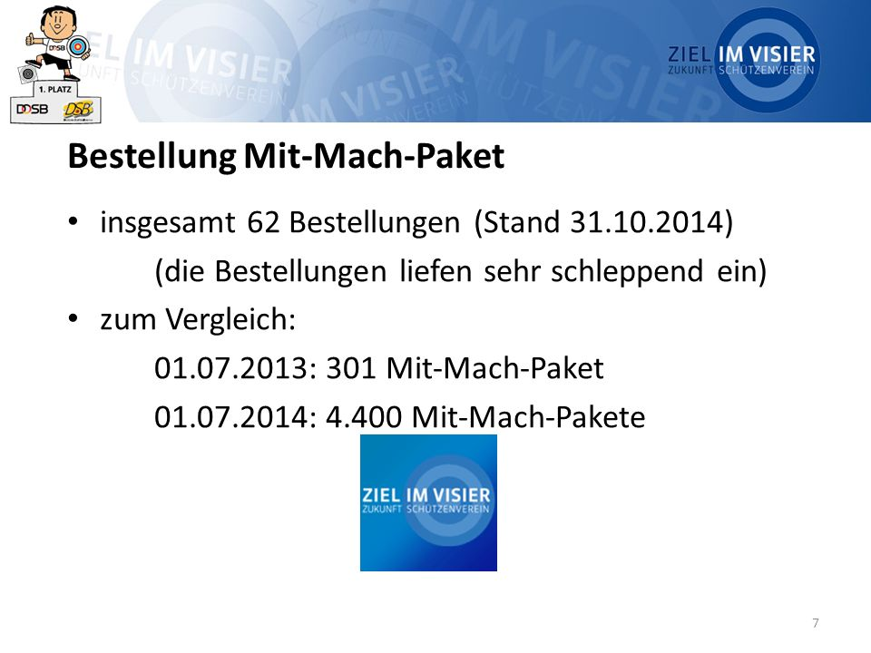 7 Bestellung Mit-Mach-Paket insgesamt 62 Bestellungen (Stand 31.10.2014) (die Bestellungen liefen sehr schleppend ein) zum Vergleich: 01.07.2013: 301 Mit-Mach-Paket 01.07.2014: 4.400 Mit-Mach-Pakete
