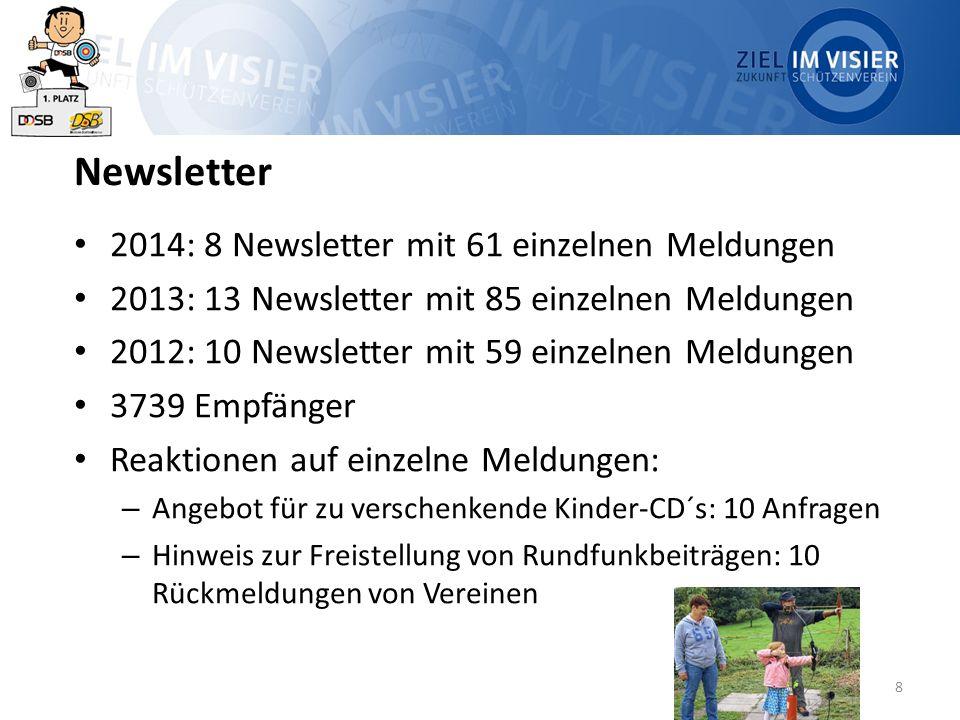 8 Newsletter 2014: 8 Newsletter mit 61 einzelnen Meldungen 2013: 13 Newsletter mit 85 einzelnen Meldungen 2012: 10 Newsletter mit 59 einzelnen Meldung