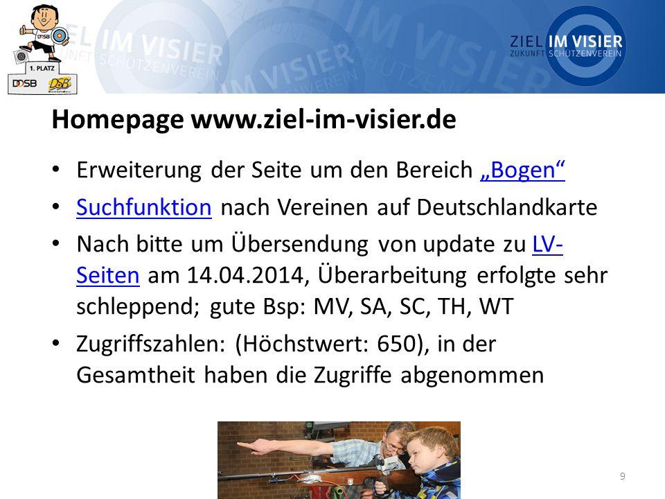"""9 Homepage www.ziel-im-visier.de Erweiterung der Seite um den Bereich """"Bogen """"Bogen Suchfunktion nach Vereinen auf Deutschlandkarte Suchfunktion Nach bitte um Übersendung von update zu LV- Seiten am 14.04.2014, Überarbeitung erfolgte sehr schleppend; gute Bsp: MV, SA, SC, TH, WTLV- Seiten Zugriffszahlen: (Höchstwert: 650), in der Gesamtheit haben die Zugriffe abgenommen"""