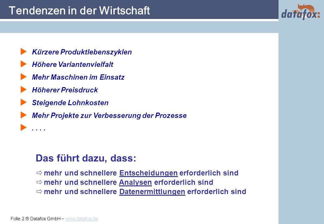 Folie 23 ® Datafox GmbH – www.datafox.de Datafox Analyse: Hauptmaske