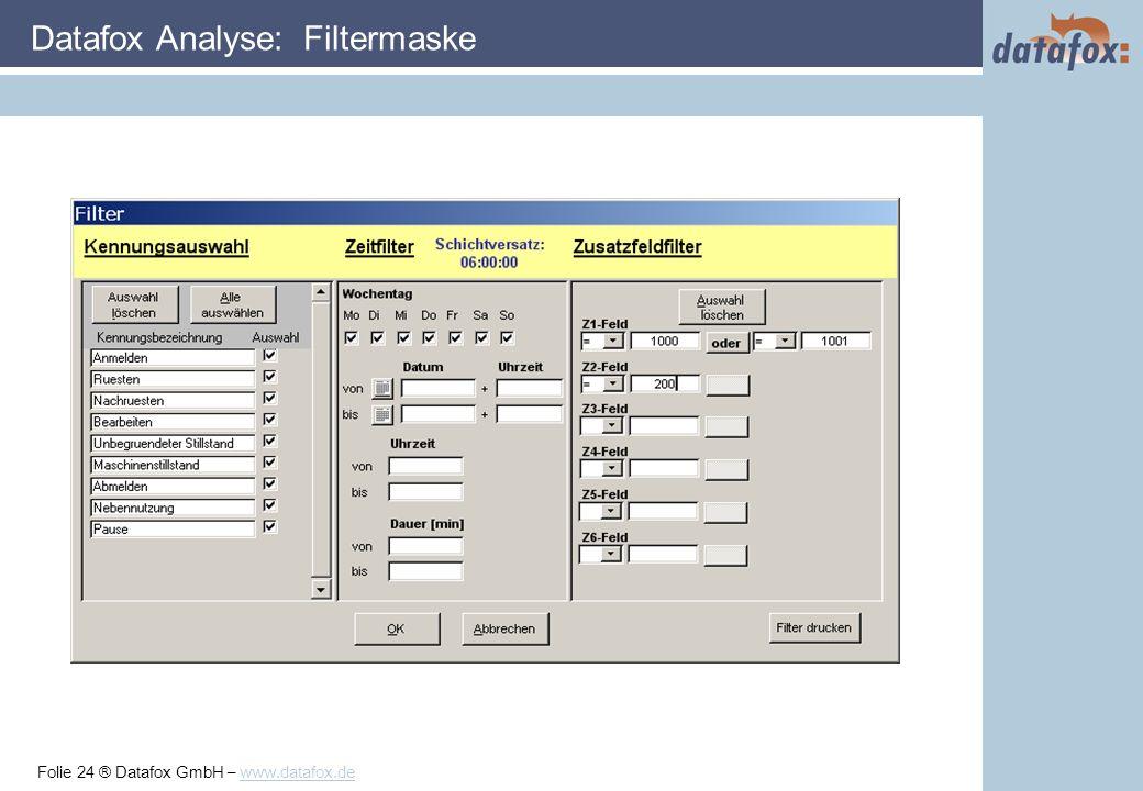 Folie 24 ® Datafox GmbH – www.datafox.de Datafox Analyse: Filtermaske