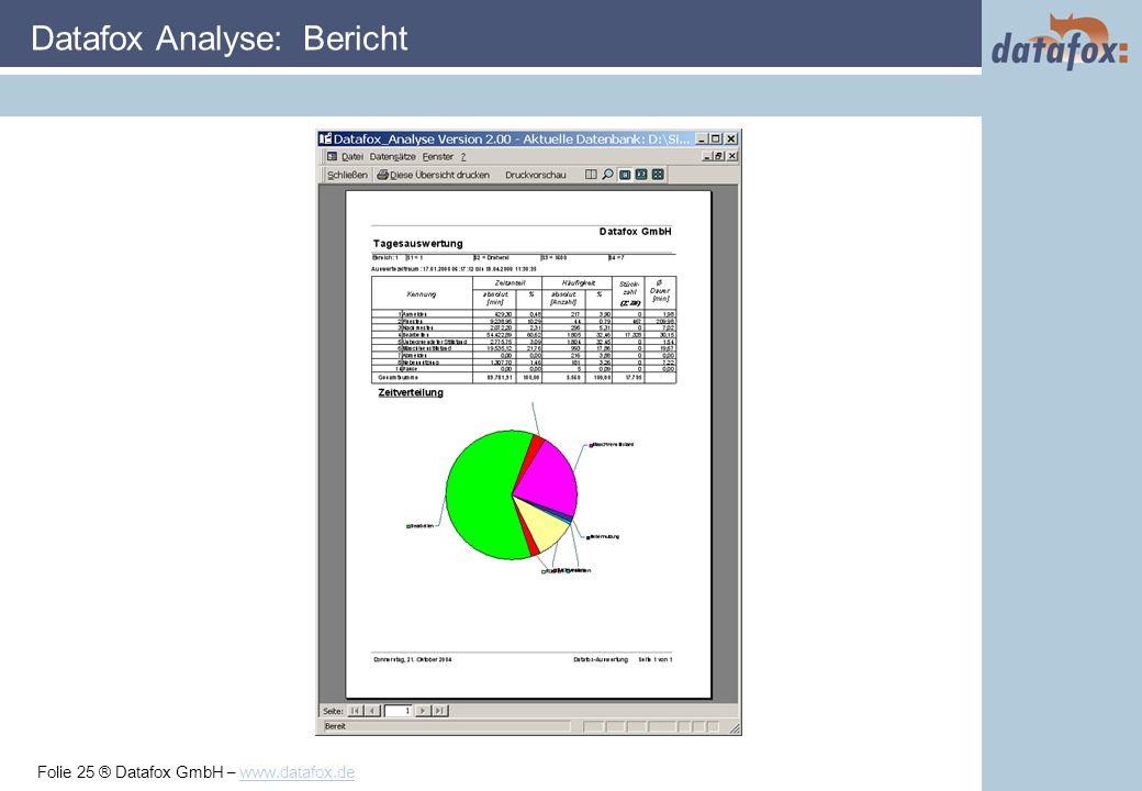 Folie 25 ® Datafox GmbH – www.datafox.de Datafox Analyse: Bericht