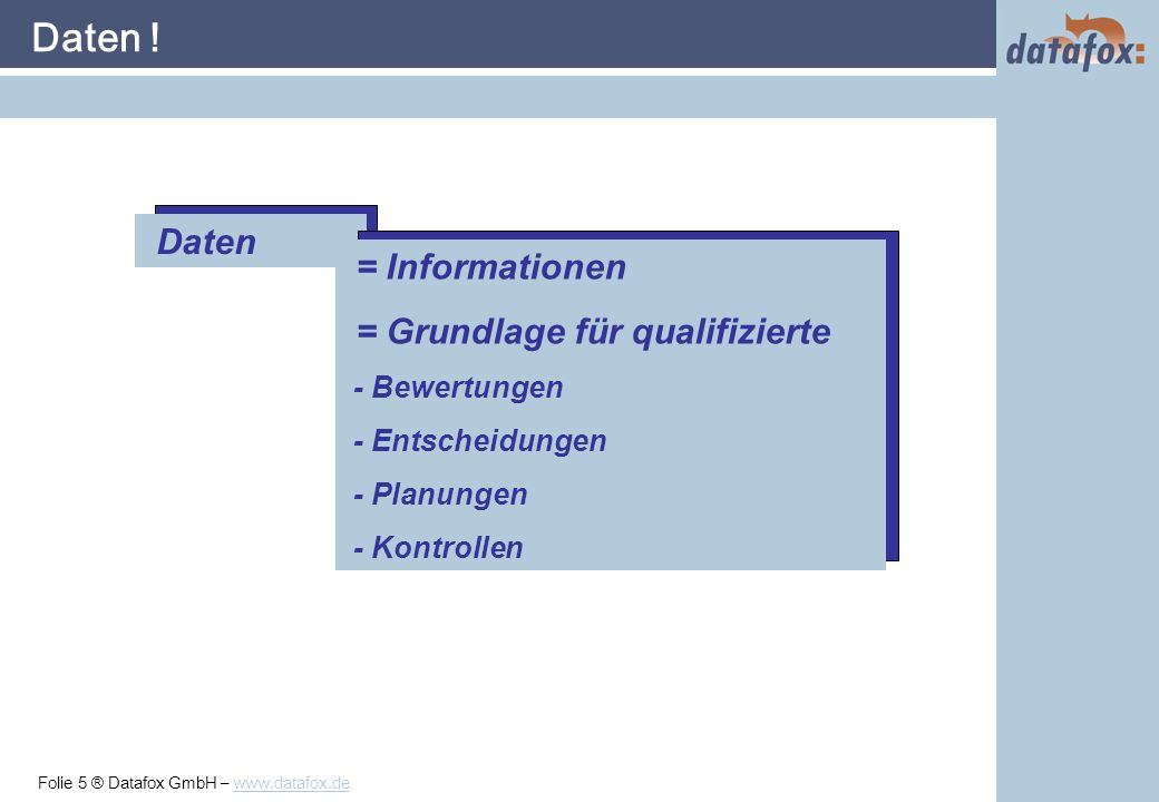 Folie 5 ® Datafox GmbH – www.datafox.de Daten .