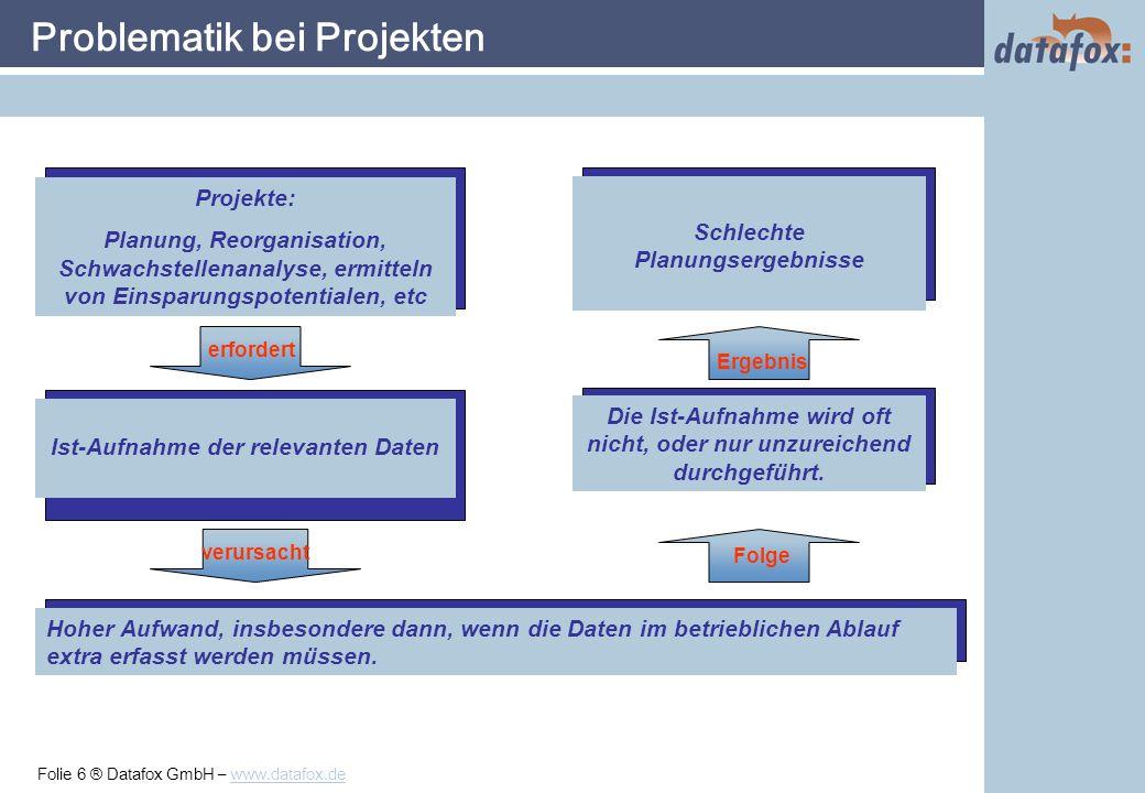 Folie 17 ® Datafox GmbH – www.datafox.de Setupprogramm: Projekt / Arbeitssystem definieren