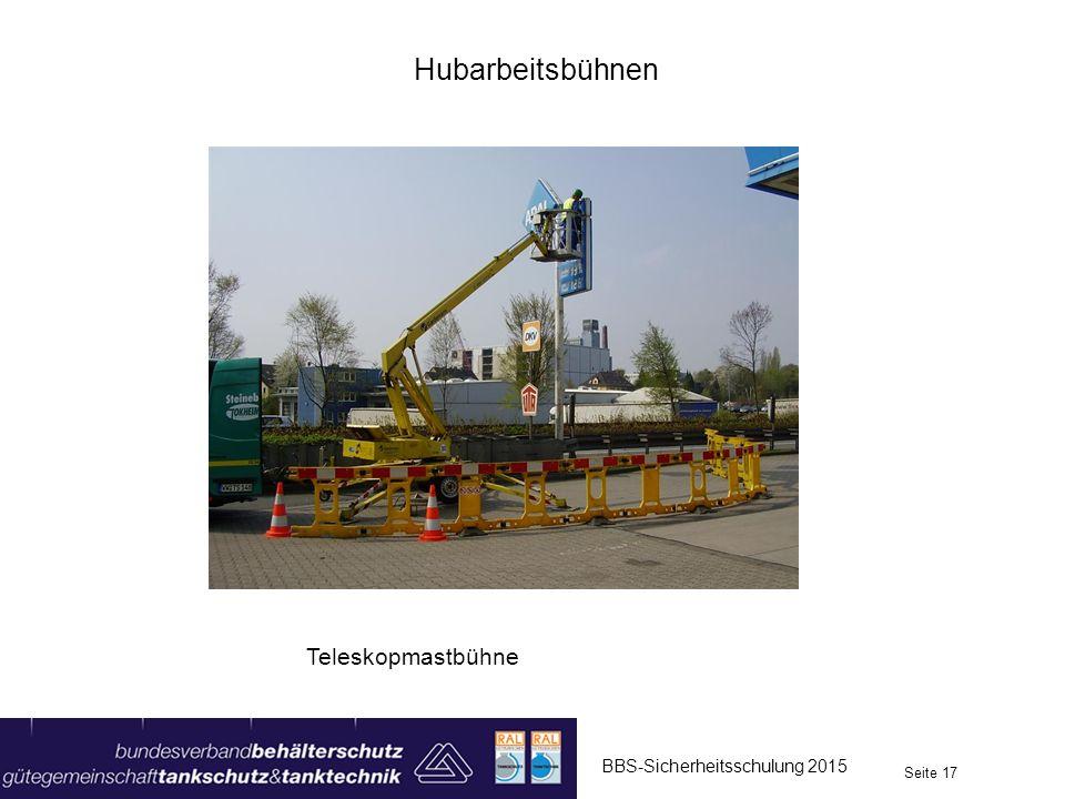 Hubarbeitsbühnen BBS-Sicherheitsschulung 2015 Seite 17 Teleskopmastbühne
