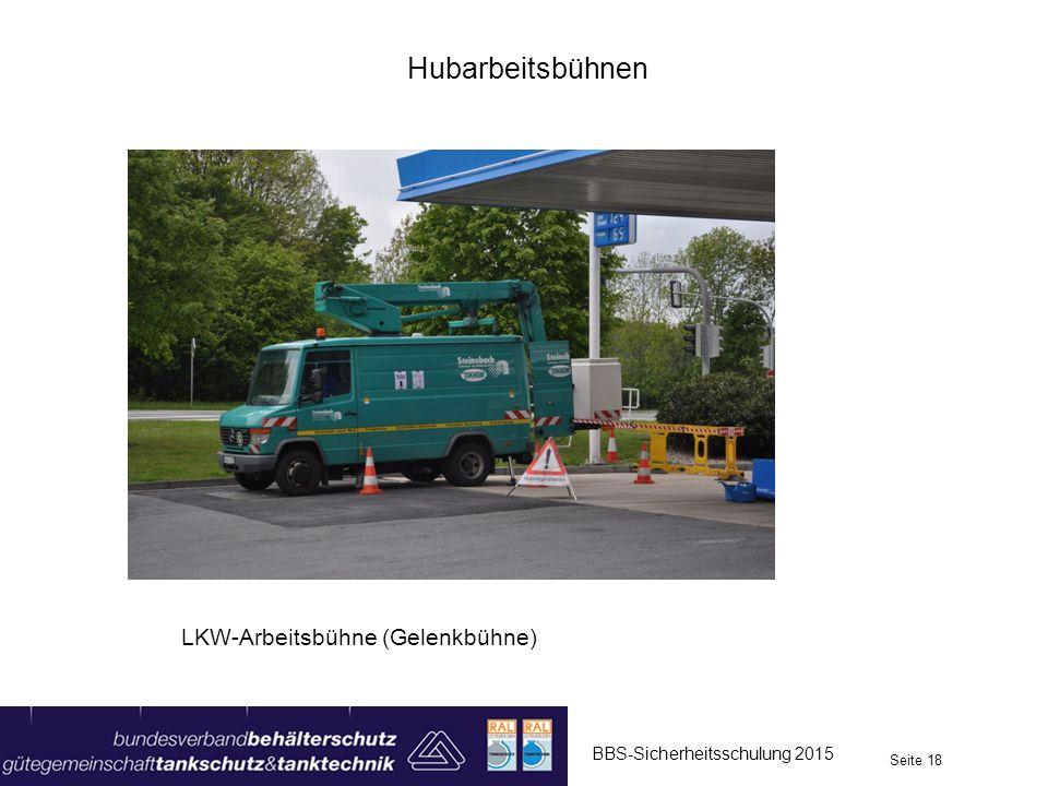 Hubarbeitsbühnen BBS-Sicherheitsschulung 2015 Seite 18 LKW-Arbeitsbühne (Gelenkbühne)