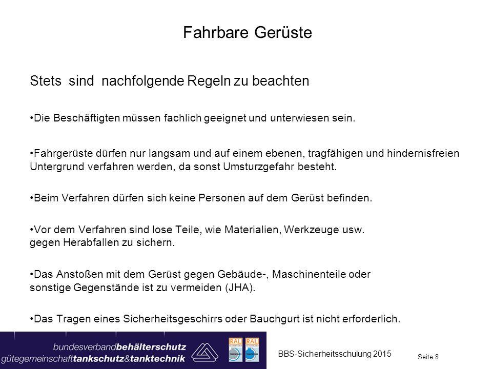 Hubarbeitsbühnen BBS-Sicherheitsschulung 2015 Seite 19 Scherenbühne