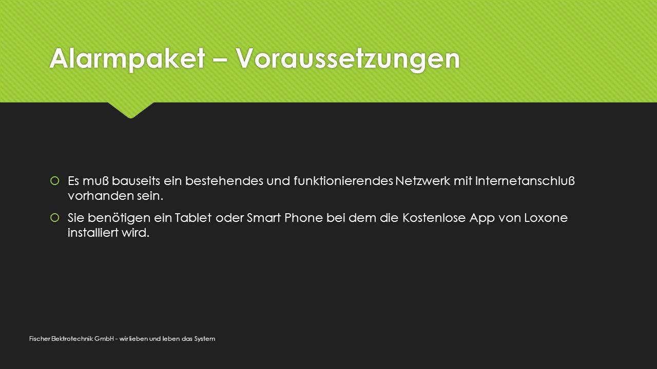 Alarmpaket – Voraussetzungen  Es muß bauseits ein bestehendes und funktionierendes Netzwerk mit Internetanschluß vorhanden sein.
