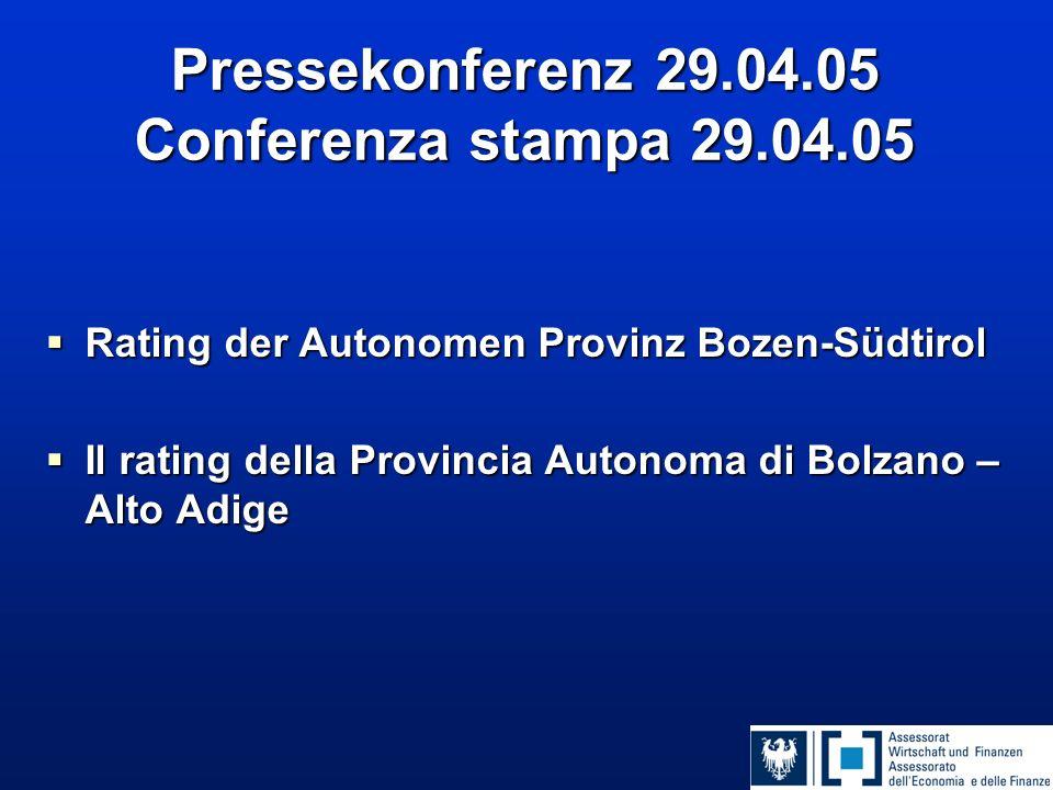 Pressekonferenz 29.04.05 Conferenza stampa 29.04.05  Rating der Autonomen Provinz Bozen-Südtirol  Il rating della Provincia Autonoma di Bolzano – Al