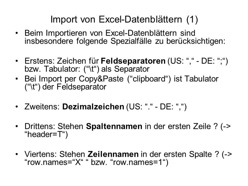 Import von Excel-Datenblättern (1) Beim Importieren von Excel-Datenblättern sind insbesondere folgende Spezialfälle zu berücksichtigen: Erstens: Zeichen für Feldseparatoren (US: , - DE: ; ) bzw.
