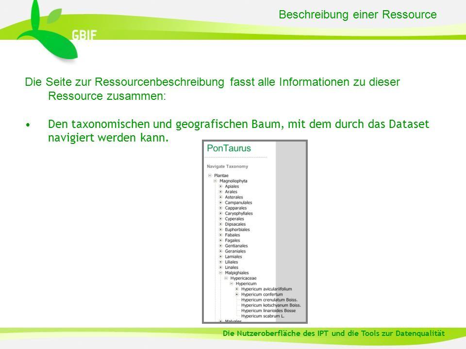 Beschreibung einer Ressource Die Seite zur Ressourcenbeschreibung fasst alle Informationen zu dieser Ressource zusammen: Den taxonomischen und geografischen Baum, mit dem durch das Dataset navigiert werden kann.