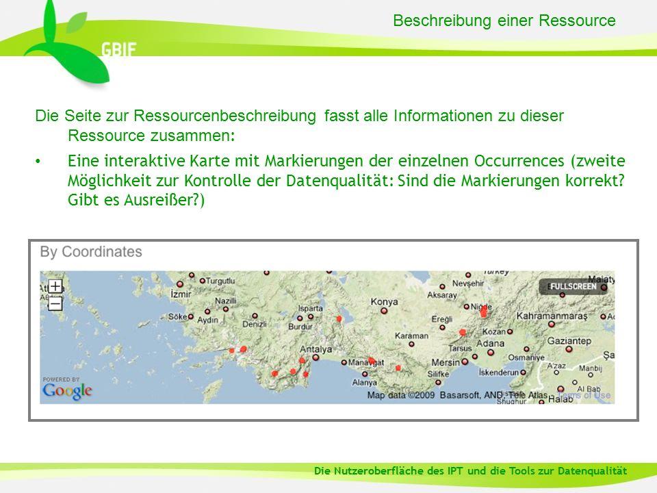 Beschreibung einer Ressource Die Seite zur Ressourcenbeschreibung fasst alle Informationen zu dieser Ressource zusammen : Eine interaktive Karte mit Markierungen der einzelnen Occurrences (zweite Möglichkeit zur Kontrolle der Datenqualität: Sind die Markierungen korrekt.