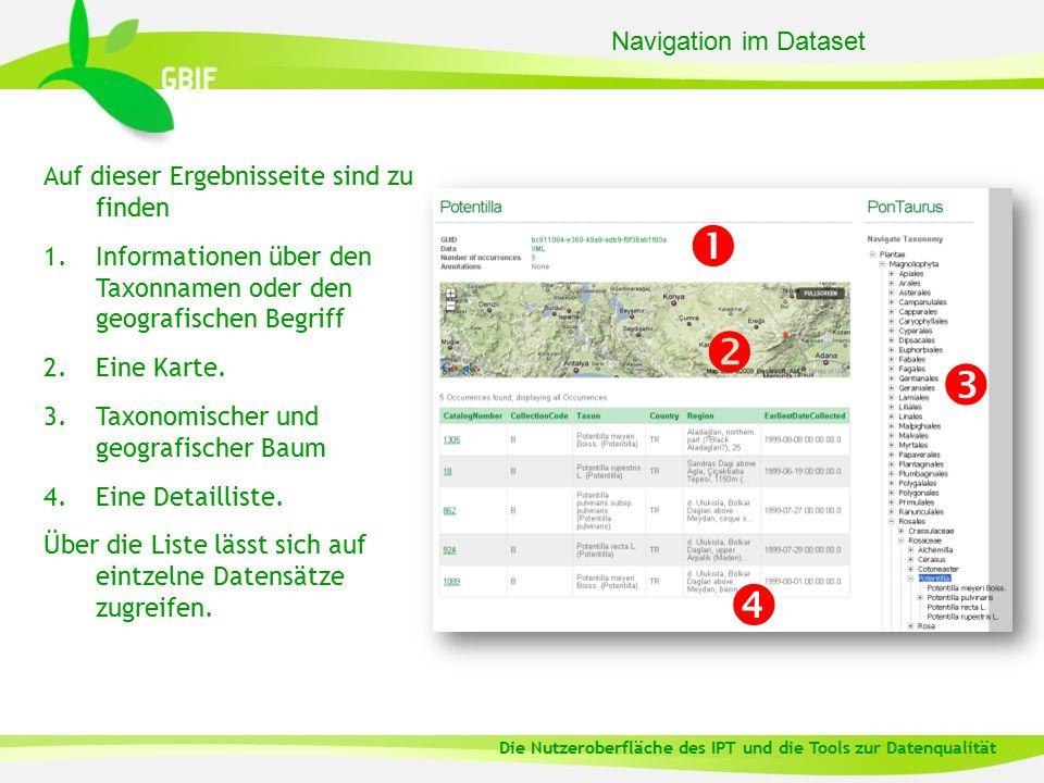 Navigation im Dataset Auf dieser Ergebnisseite sind zu finden 1.Informationen über den Taxonnamen oder den geografischen Begriff 2.Eine Karte.