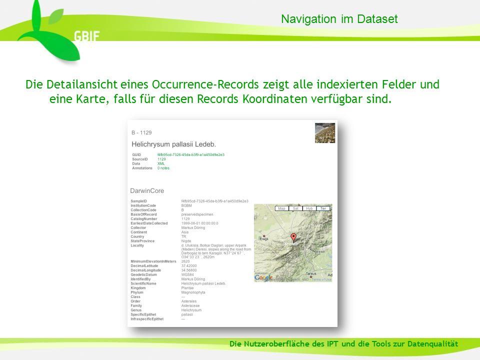 Die Detailansicht eines Occurrence-Records zeigt alle indexierten Felder und eine Karte, falls für diesen Records Koordinaten verfügbar sind. Navigati