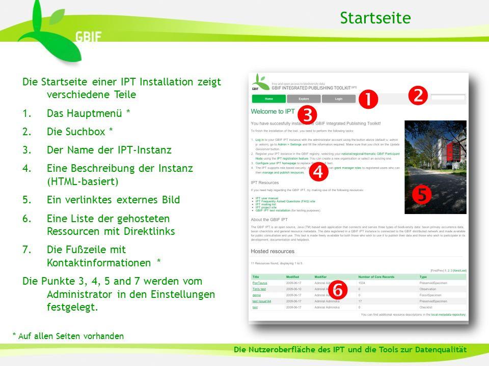 Startseite Die Startseite einer IPT Installation zeigt verschiedene Teile 1.Das Hauptmenü * 2.Die Suchbox * 3.Der Name der IPT-Instanz 4.Eine Beschrei