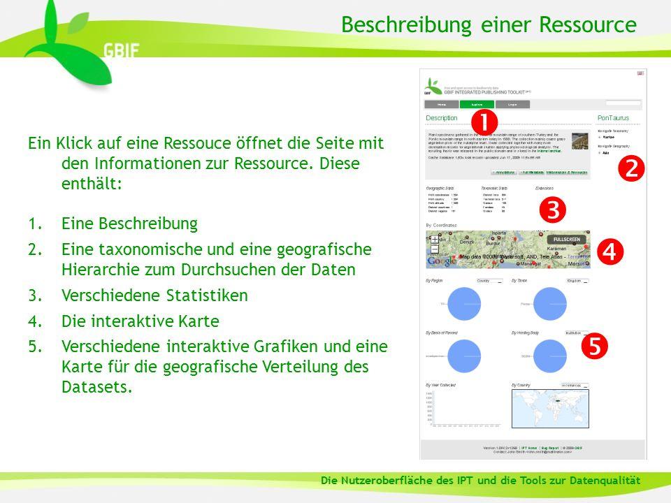 Beschreibung einer Ressource Ein Klick auf eine Ressouce öffnet die Seite mit den Informationen zur Ressource. Diese enthält: 1.Eine Beschreibung 2.Ei